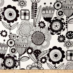 Alexander Henry Prairie House Wild Flower Black/White from @fabricdotcom  Designed by DeLeon Design Group for Alexander Henry, this cotton print is perfect for quilting, apparel and home decor accents. Colors include black and white.