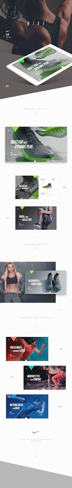 Nike on Behance Website Design Layout, Web Design Tips, Layout Design, Webpage Layout, Online Workout Videos, Sports Website, Behance, Branding, Web Banner
