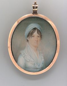 "Mrs. Jonathan Pinkney, Jr. (Elizabeth Munroe) (ca. 1798, James Peale, Watercolor on ivory in gold locked 2 3/4"" x 2 1/4"", MET)"