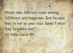 """People take different roads seeking fulfillment and happiness.  Just because they're not on your road doesn't mean they've gotten lost.""  -Dalai Lama XIV"