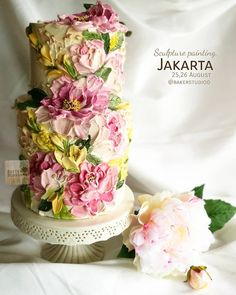 "Scuplture painting In Jakarta, Indineasia August 2018 Once again with my new design "" Peony painting ""… Cake Decorating Techniques, Cake Decorating Tips, Gorgeous Cakes, Pretty Cakes, Bolo Glamour, Painted Wedding Cake, Sugar Cake, Before Wedding, Buttercream Flowers"