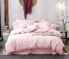 Lovely dogwood linen duvet cover, accent with ruffle shams. #linen #linenduvet #linenduvetcover #pink #pinkshams #ruffles