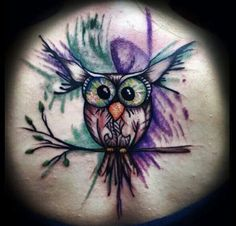 water color owl tattoo
