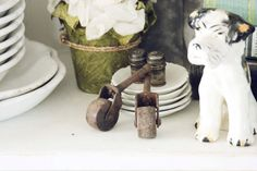 Set of two Very old Casters Vintage Supplies by blondiensc on Etsy, $8.50