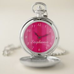Multi Pink Stripe Personalized Name Classy Retro Pocket Watch - classy gifts custom diy personalize