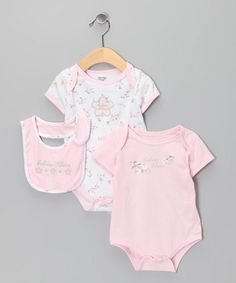 Take a look at this Pink & White Floral Bodysuit Set by Calvin Klein & Baby Headquarters on #zulily today!