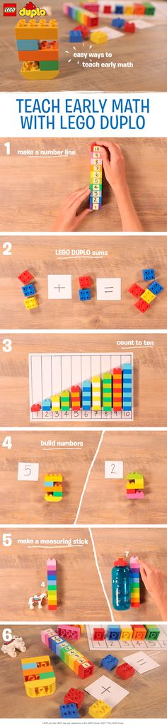 These five simple early math activities are a fantastic fun introduction to early number skills for preschoolers and kids just starting school. Use LEGO DUPLO bricks to build a number line, practice sums, learn to count to 10, work on digit recognition by building numbers together, or make a measuring stick out of bricks. All you'll need to try these five activities is a handful of LEGO DUPLO bricks, a pen and paper, and some sticky notes. Perfect for the preschool classroom or at home!