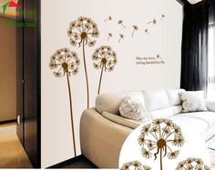 1600*1700MM New Products Large Dandelion Flower Tree Wall Stickers Mural Decals Art Transparent Pvc Removable Wallpaper AY695 #Affiliate