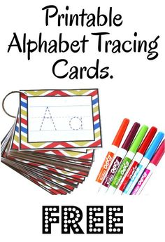 See Jamie Teach Homeschool: Alphabet Tracing Cards -Free Printable- - Preschool Children Activities Preschool Letters, Learning Letters, Kindergarten Literacy, Preschool Classroom, Writing Center Preschool, Writing Centers, Preschool Colors, Kindergarten Graduation, Free Preschool