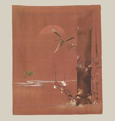 "Taisho Gift Cloth, Taisho (1912-1926). A silk fukusa featuring the shou-chiku-bai motif. Painting with embroidery highlights. 26"" x 31"". Yorke Antique Textiles"