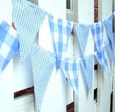 Party Banner, Bunting, 21 Pennant Flags, Vintage Style Gingham Blue, 9 Feet, Wedding Decorations, Baby Boy Shower, Nursery Decor