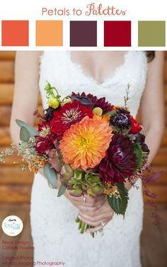 Fall Wedding Bouquet - Wedding flowers color palettes - Wedding flowers - Wedding Bouquet color ideas - Wedding bouquet color palettes - mood boards for bridal bouquet - wedding color ideas Fall Wedding Bouquets, Fall Wedding Flowers, Fall Wedding Colors, Wedding Color Schemes, Floral Wedding, Bridal Bouquets, Orange Wedding, Flower Bouquets, Burgundy Wedding