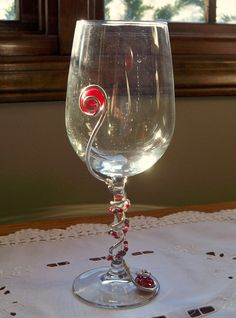 Wine glasses decorated with beads and flat gems by LOVEMYWINEGLASS, $17.00