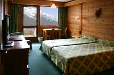 Une des chambres de l'hôtel Prieuré