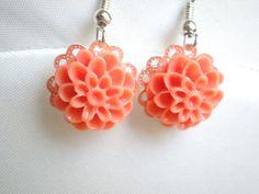 Coral Flower Earrings, Resin, Silver Hooks