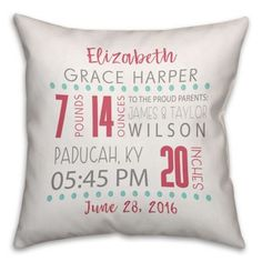 Ready for a pillow fight? Stock up on baby pillows, toddler pillows and kids throw pillows for a cute nursery. Get kids decorative pillows at buybuyBABY - buy now. Birth Announcement Girl, Announcement Cards, Baby Pillows, Throw Pillows, Christmas Gifts For Grandma, Toddler Pillow, Baby Invitations, Cute Family, Baby Birth