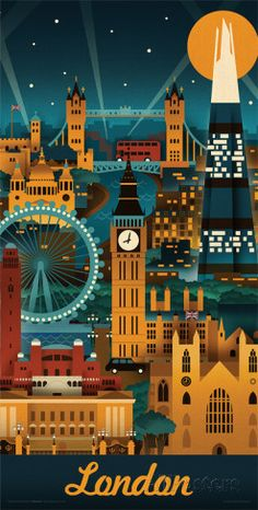Lantern Press- London Retro Skyline Posters by Lantern Press at AllPosters.com