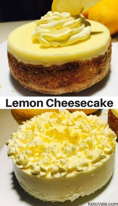 Today we want to share with you our simple low carb baked lemon cheesecake recipe. This dessert is very simple and delicious. Your friends and family will definitely love it. They won't even know that…More 15 Indulgent Sugar Free Cheesecake Ideas Sugar Free Cheesecake, Low Carb Cheesecake Recipe, Cheesecake Tarts, Low Carb Deserts, Low Carb Sweets, Sugar Free Recipes, Low Carb Recipes, Coconut Recipes, Junk Food