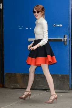 On her way to Good Morning America in Giambattista Valli with Valentino shoes. See all of Emma Stone's best looks.