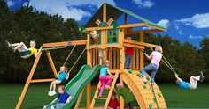 backyard wooden swing sets, backyard playground equipment playsets and swingset accessories. Commercial Playground Equipment, Playground Set, Backyard Playground, Backyard Slide, Backyard Swing Sets, Backyard Playset, Backyard Ideas, Garden Ideas, Swing And Slide Set