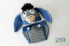 Crochet el sombrero de burro de bebé y pañales cubierta de