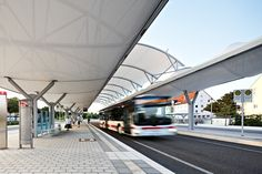Bus station, Königsbrunn – PVC-coated polyester membrane roof - - Temme Obermeier | Experts for Membrane Building