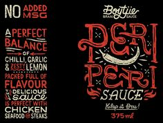 We worked with Malinco Foods to develop the logo and a range of labels for Boytjie Braai Sauce. We created custom lettering and illustration for each label in the range of braai (barbecue) sauces to reflect their individuality and authentic wholesome ingr…