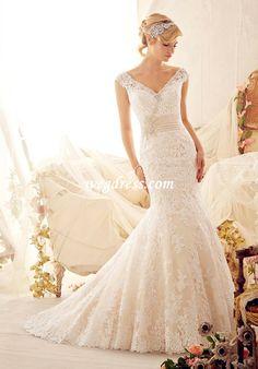 Off the Shoulder Natural Waist Wedding Dress