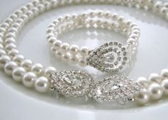 Items similar to Grace Kelly Set - Vintage-Inspired Pearl and Rhinestone Necklace and Bracelet on Etsy