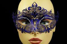 Blue Metal Venetian Half Mask