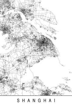 SHANGHAI MAP Minimalist Shanghai Art Print by EncoreDesignStudios