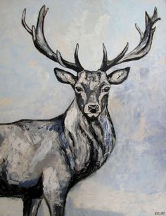 Red deer stag #painting #reddeer #deer #stag #winter #acrylic #forest #animal #canvas #deau #art
