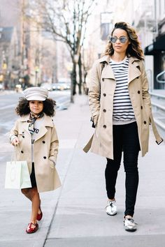 Think Outside The Gift Box This Mother's Day - Cute Matching Spring Time Street Style Outfits Beige Trench Coats And Striped Tops