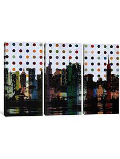 iCanvasART 3 Piece New York Colorful Polka Dot Skyline Canvas Print by Kane, x Depth ❤ iCanvas Polka Dot Print, Polka Dots, Home Gifts, 3 Piece, Photo Wall, Skyline, Canvas Prints, Colorful, York