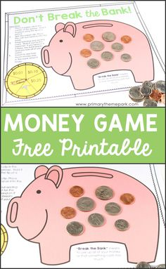 Fun and engaging money activities for second grade, including a free printable game as well as links to money songs and videos.