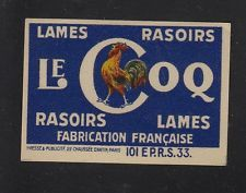 Ancienne étiquette  Allumettes France    Lames de rasoirs Le Coq