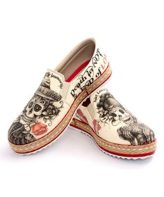 Look at this Beige Sugar Skull Slip-On Shoe on #zulily today!
