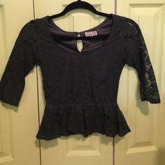 Lace peplum top Lace peplum top, long sleeve goes down to your elbows. PacSun Tops Tees - Long Sleeve