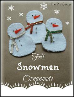 DIY Felt Snowman Christmas Ornaments
