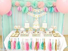 Pink, Mint and Gold Carousel Cake Dessert Table Birthday Party Cherie Kelly London 13th Birthday Parties, Pink Birthday, 1st Birthday Girls, Cake Birthday, Birthday Ideas, Kids Dessert Table, Carousel Cake, Dessert Table Birthday, Kid Desserts