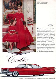 Red Cadillac Sedan De Ville SCAASI MOTHER DAUGHTER GOWNS Fins 1959 Print Ad