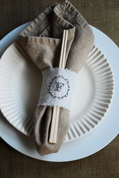 Check out how easy it is to make your own monogrammed napkin rings! (This giveaway is now closed. Custom Stamps, Dinner Napkins, Self Inking Stamps, Cloth Napkins, Animal Party, Napkin Rings, Craft Projects, Craft Ideas, Make Your Own