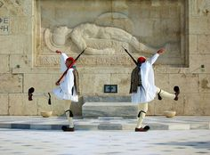 Evzones, the changing of Guard, Athens, Greece I'm sure it's rude to say something about the puff balls, right? Mykonos, Santorini, Picture Icon, Thessaloniki, Athens Greece, Greece Travel, Africa, Europe, History