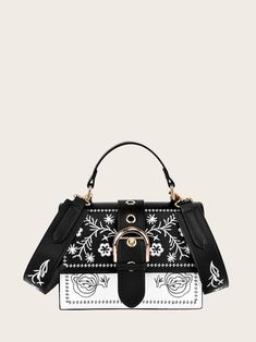 f797469b97 Buckle Decor Floral Embroidered Bag | SHEIN