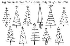 Hand Drawn Christmas Trees Clipart by Colors on Paper on Creative Market