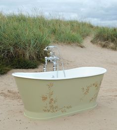 This image was shot on location at St Andrews beach. This wonderful Radison bespoke Imperial bath features a bespoke paint finish and stencilling with metal foils. We can supply any colour or finish and it is perfect as a bold statement for a period style bathroom design. Cottage Style Bathrooms, Bathroom Styling, Bathroom Ideas, St Andrews, Paint Finishes, Clawfoot Bathtub, Coastal Living, Bespoke