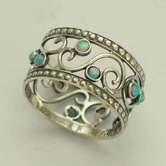 Sterling silver oxidized ring with blue opal stones - delicate wide silver band,...