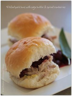 Pulled pork buns with sage butter and spiced cranberries