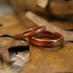Kingwood Bentwood Ring Set Wedding or by stoutwoodworks on Etsy  unique and durable, i really likeit as a wedding ring