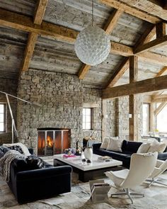 Modern home decor ideas - rustic, natural elements - vaulted ceiling - stone fireplace